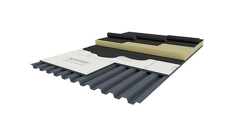 cubierta plana con placa soporte Aquapanel Rooftop