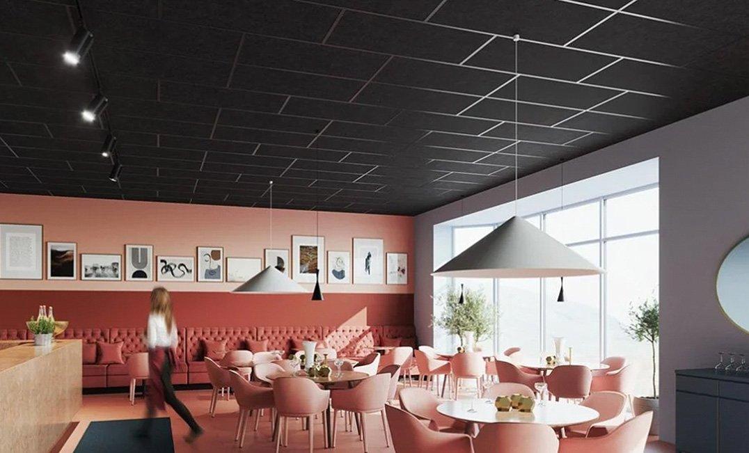 Ecophon, techos desmontables, islas acústicas y luminarias